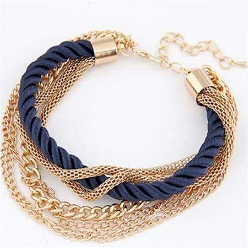 Fashionable Rope Chain Decoration Bracelet - blue - Charm Bracelets