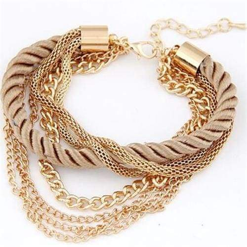 Fashionable Rope Chain Decoration Bracelet - coffee - Charm Bracelets