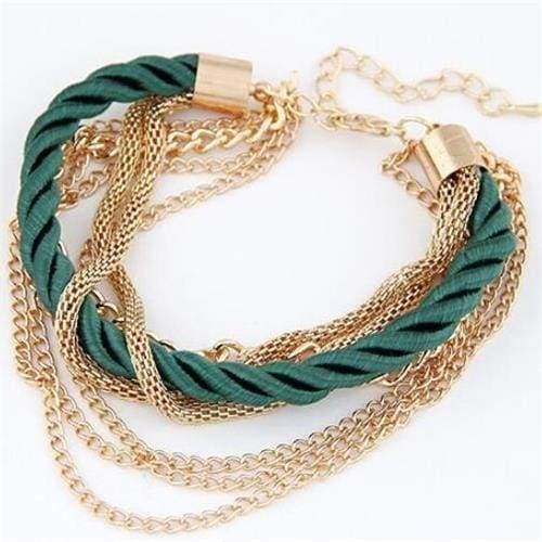Fashionable Rope Chain Decoration Bracelet - green - Charm Bracelets