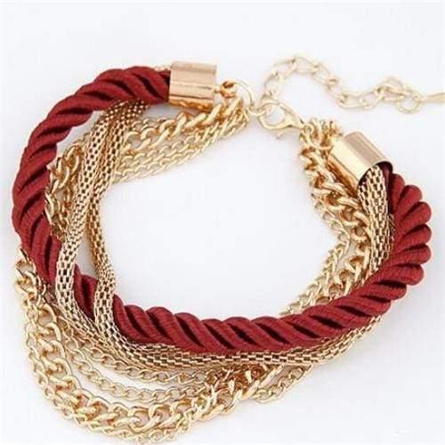 Fashionable Rope Chain Decoration Bracelet - red - Charm Bracelets