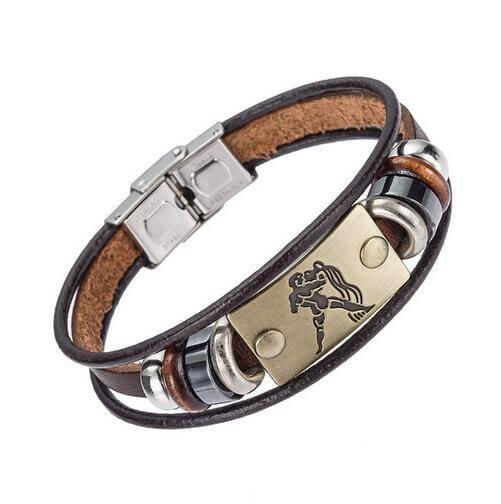 Fashion Zodiac Signs Bracelet Gallstone Leather - Aquarius - Charm Bracelets