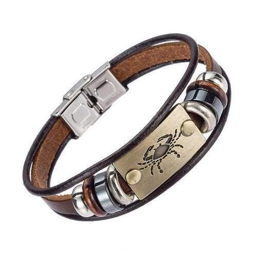 Fashion Zodiac Signs Bracelet Gallstone Leather - Cancer - Charm Bracelets