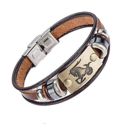 Fashion Zodiac Signs Bracelet Gallstone Leather - Capricorn - Charm Bracelets