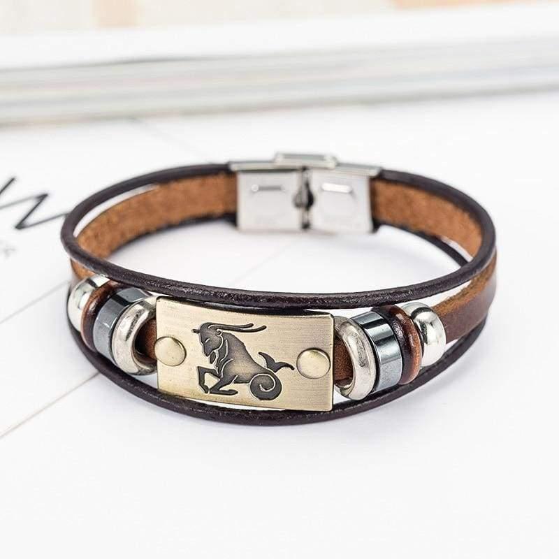 Fashion Zodiac Signs Bracelet Gallstone Leather - Charm Bracelets
