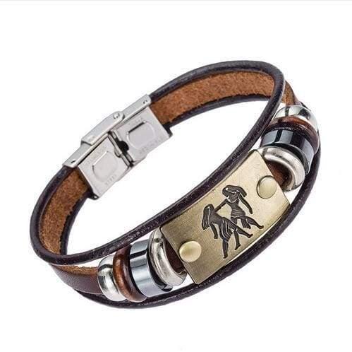Fashion Zodiac Signs Bracelet Gallstone Leather - Gemin - Charm Bracelets