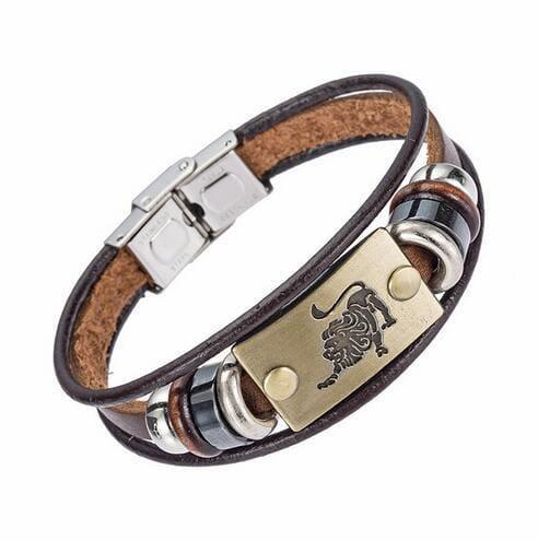Fashion Zodiac Signs Bracelet Gallstone Leather - Leo - Charm Bracelets
