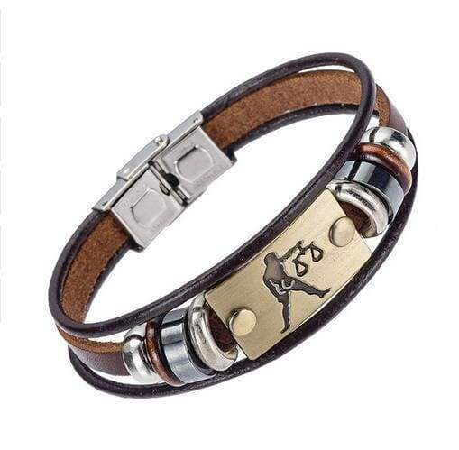 Fashion Zodiac Signs Bracelet Gallstone Leather - Libra - Charm Bracelets