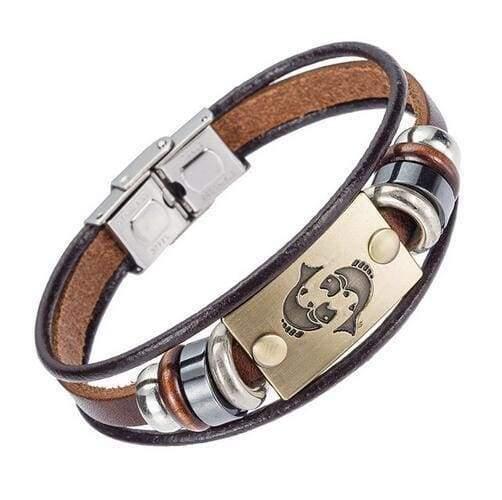Fashion Zodiac Signs Bracelet Gallstone Leather - Pisces - Charm Bracelets
