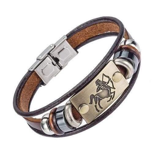Fashion Zodiac Signs Bracelet Gallstone Leather - Sagittarius - Charm Bracelets