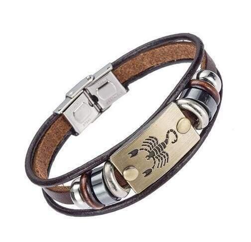 Fashion Zodiac Signs Bracelet Gallstone Leather - Scorpio - Charm Bracelets