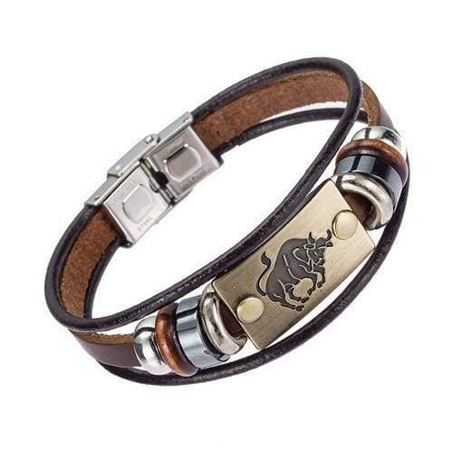 Fashion Zodiac Signs Bracelet Gallstone Leather - Taurus - Charm Bracelets