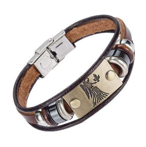 Fashion Zodiac Signs Bracelet Gallstone Leather - Virgo - Charm Bracelets