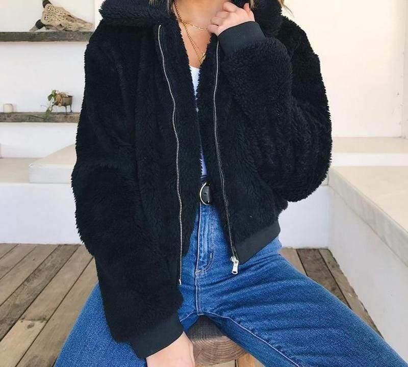 Fleece Fur Coat Just For You - Black / L - Basic Jackets