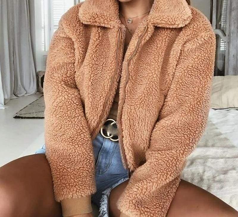 Fleece Fur Coat Just For You - Brown / L - Basic Jackets