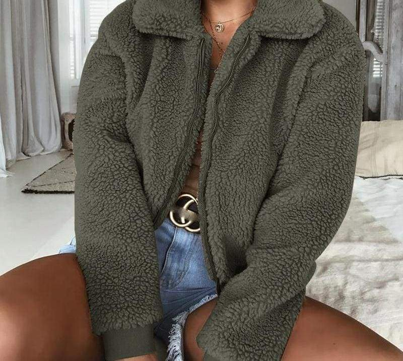 Fleece Fur Coat Just For You - Green / L - Basic Jackets