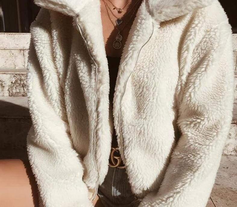 Fleece Fur Coat Just For You - White / L - Basic Jackets