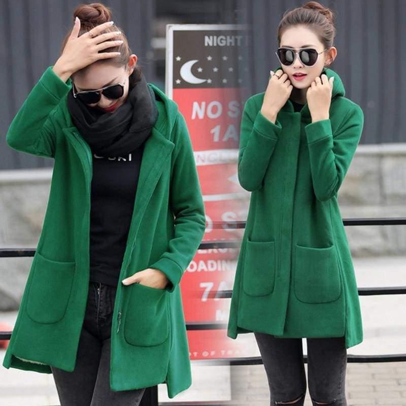 Fleece Jacket Coats Women Just For You - Green / S - Women Coat