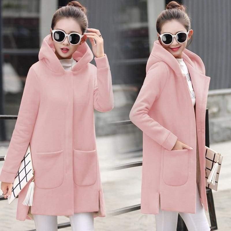 Fleece Jacket Coats Women Just For You - Pink / S - Women Coat