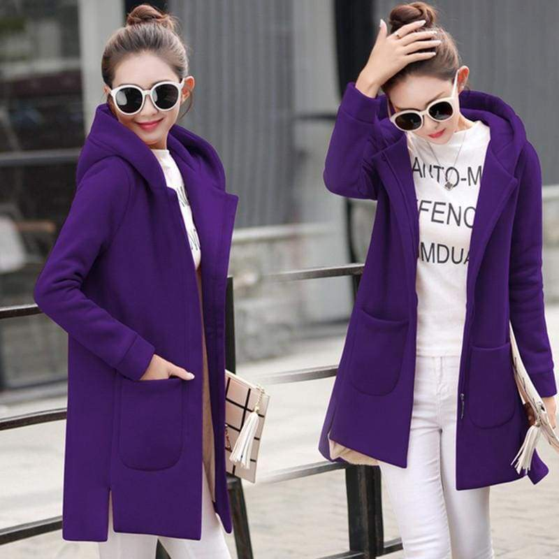 Fleece Jacket Coats Women Just For You - Purple / S - Women Coat