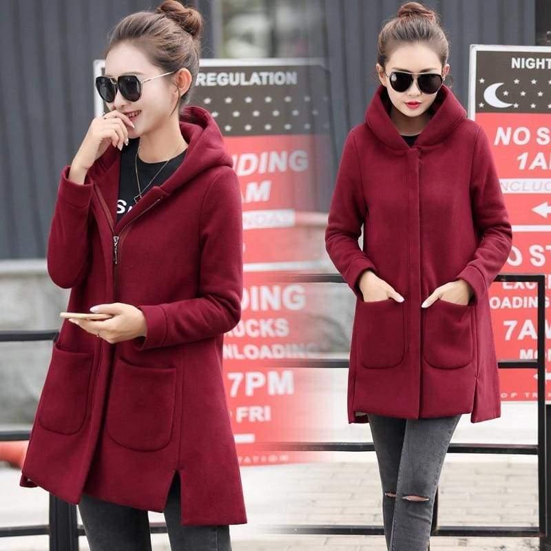 Fleece Jacket Coats Women Just For You - wine red / S - Women Coat