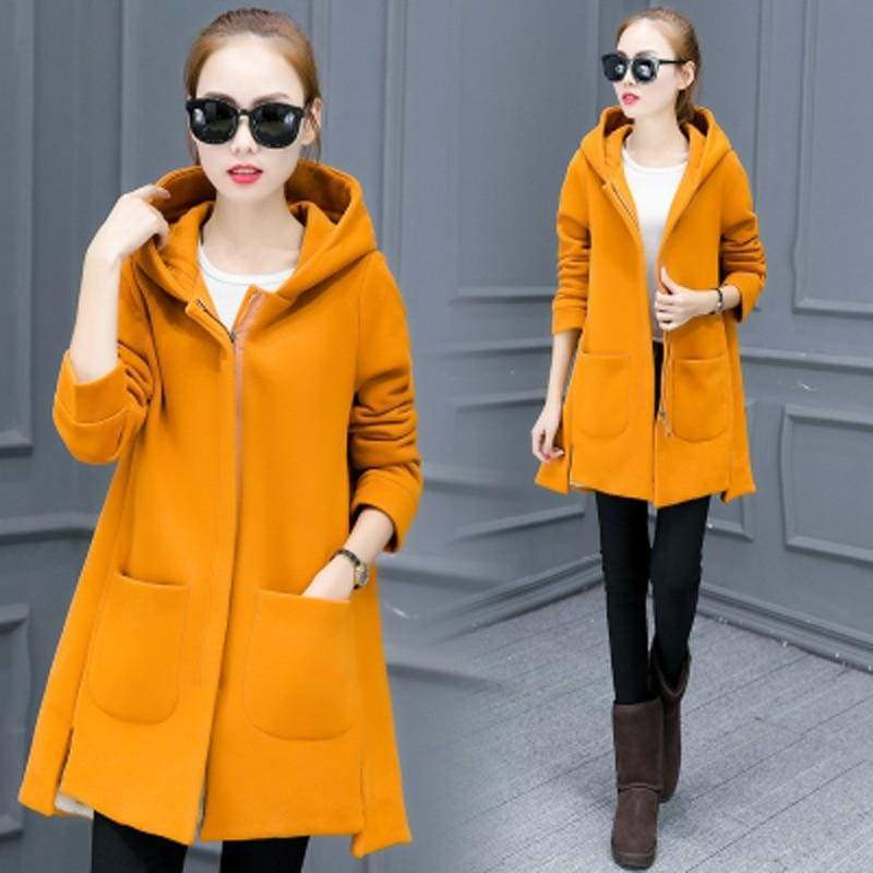 Fleece Jacket Coats Women Just For You - Yellow / S - Women Coat