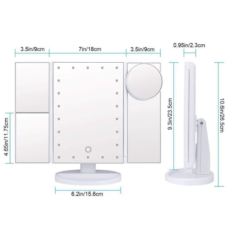 Foldable Triple-Panel LED Makeup Mirror - Makeup Mirrors