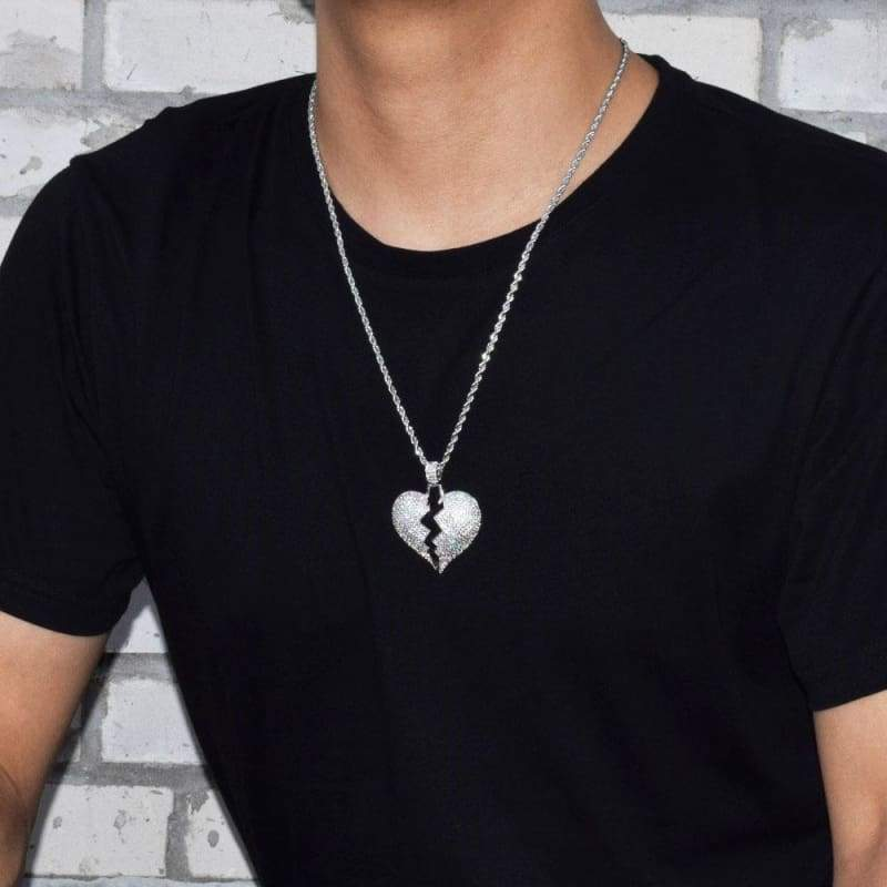 Frozen Heart Iced Out Pendant - Chain Necklaces