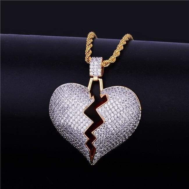 Frozen Heart Iced Out Pendant - gold 2 / Cuban chain / 30inch - Chain Necklaces