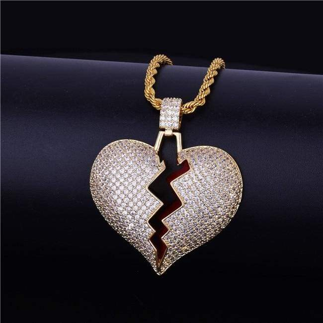 Frozen Heart Iced Out Pendant - gold / Cuban chain / 30inch - Chain Necklaces