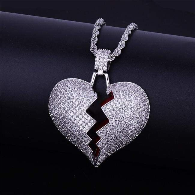 Frozen Heart Iced Out Pendant - silver / Cuban chain / 30inch - Chain Necklaces