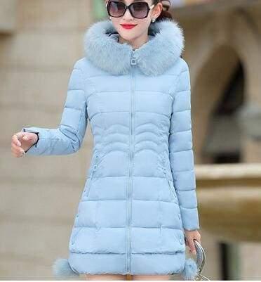 Fur Parkas Women Coat Just For You - blue / M - Women Coat