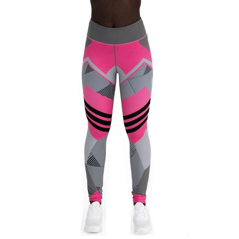 Geometric Leggings Just For You - Rose Red / S - Yoga Pants