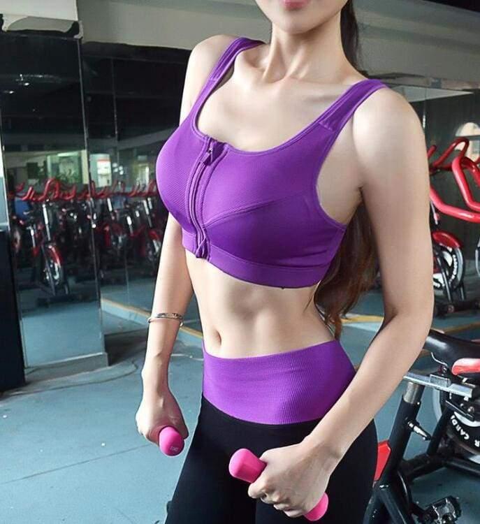 GYM zipper Adjustable Strap sports bra - Purple / S - Sports Bras