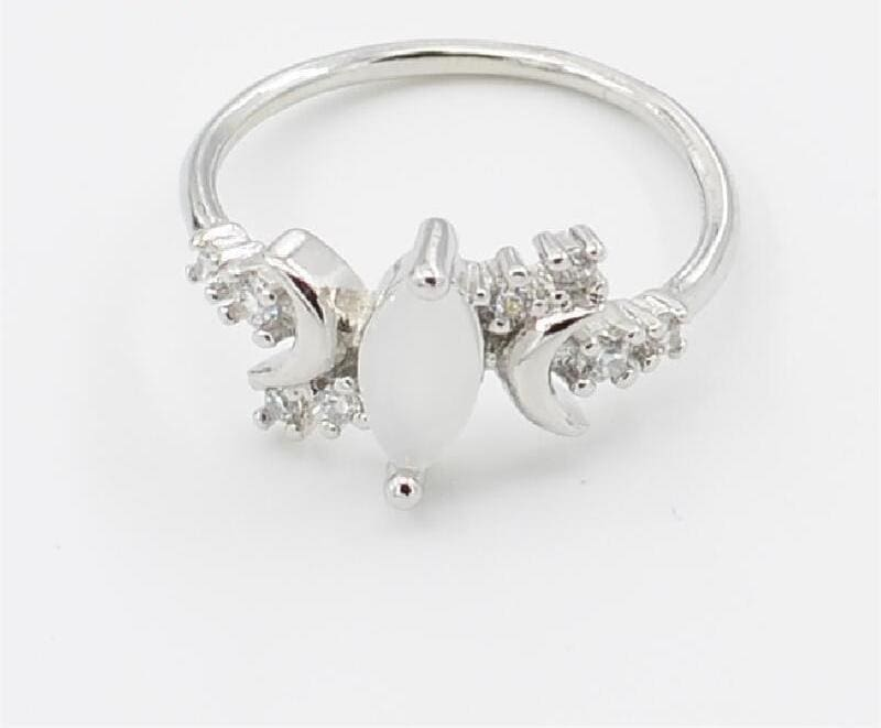 Half Moonstone Goddess Ring - 10 / Silver - Engagement Rings