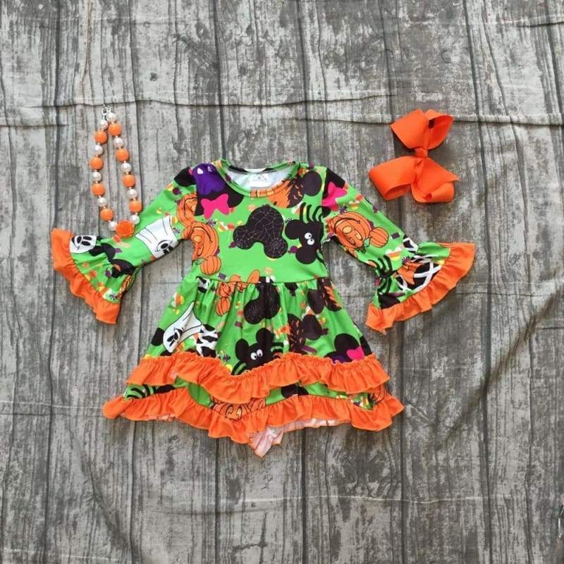 Halloween Orange Ruffle Dress with accessories - 2T - Clothing Sets