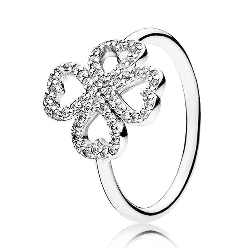 Hearts Of Halo Clover Rings - 6 / 8 - Wedding Bands