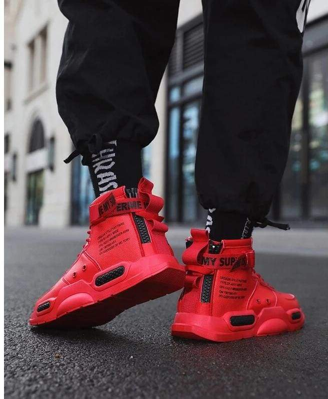 High-top Sneakers Mens Cotton Shoes - Red 18119 / 41 - Sneakers shoes