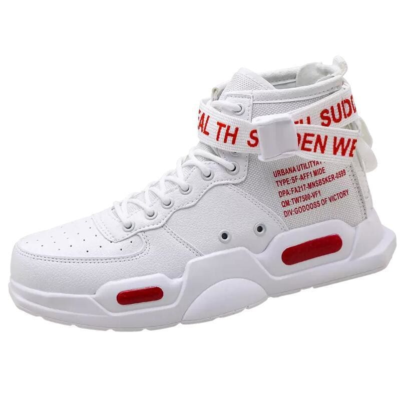 High-top Sneakers Mens Cotton Shoes - White Red 18119 / 38 - Sneakers shoes