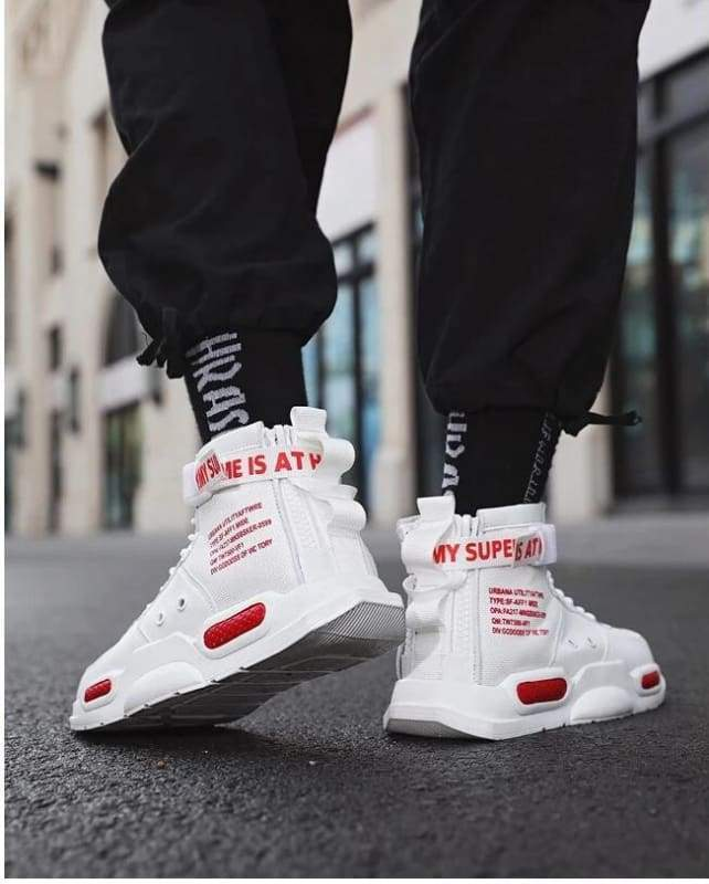 High-top Sneakers Mens Cotton Shoes - White Red 18119 / 39 - Sneakers shoes