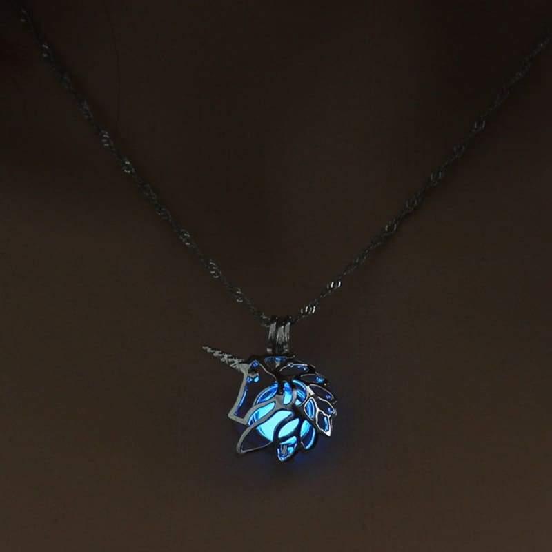 Hollow Unicorn Necklace - Blue - Choker Necklaces