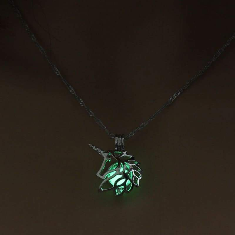 Hollow Unicorn Necklace - Green - Choker Necklaces