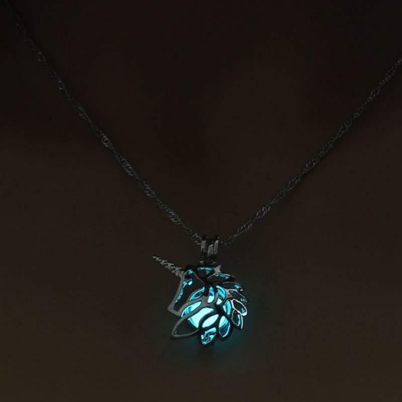 Hollow Unicorn Necklace - Light Blue - Choker Necklaces