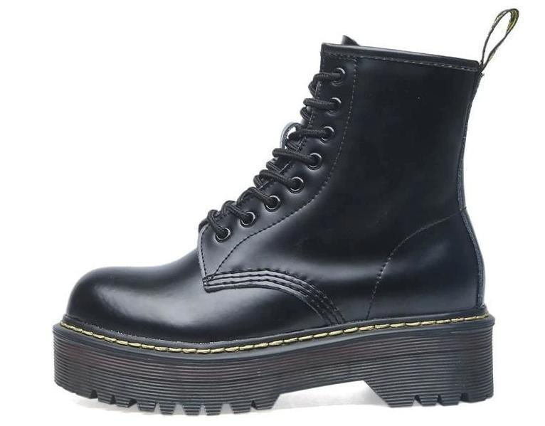 Lace-up Leather Boots For Women - Bright black / 35 - shoes