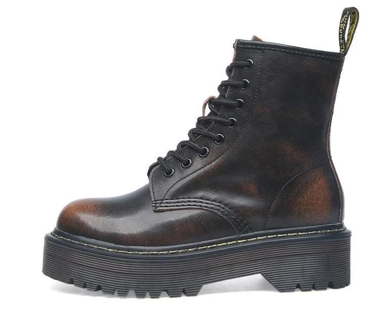 Lace-up Leather Boots For Women - Brown / 35 - shoes