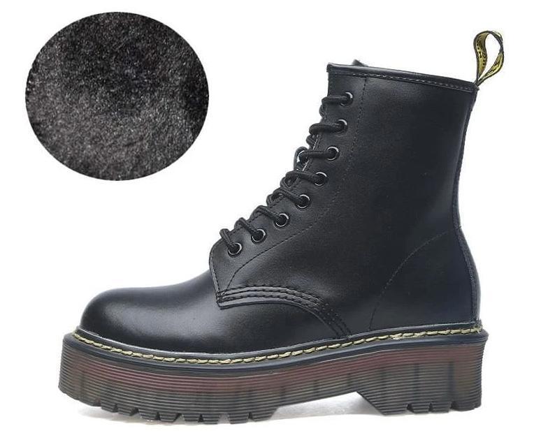 Lace-up Leather Boots For Women - Fur Matte black / 35 - shoes
