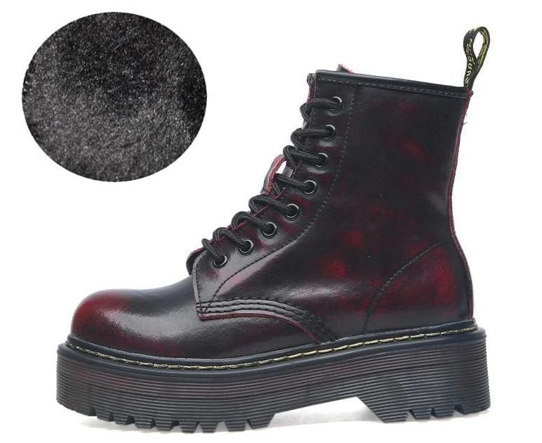Lace-up Leather Boots For Women - Fur red / 35 - shoes