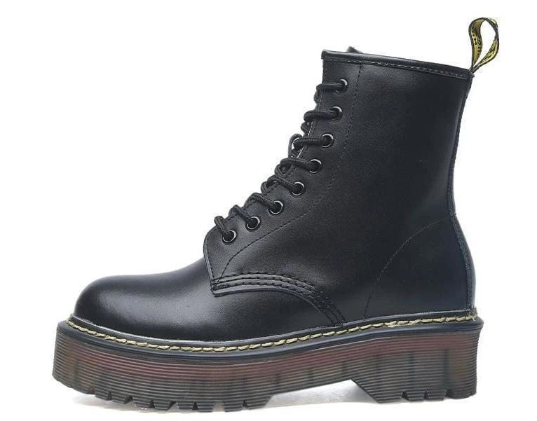 Lace-up Leather Boots For Women - Matte black / 35 - shoes