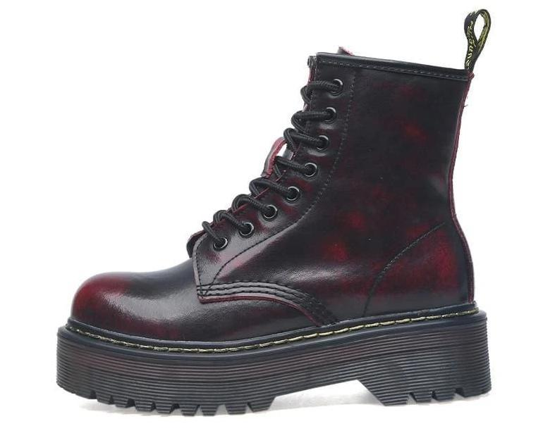 Lace-up Leather Boots For Women - Red / 35 - shoes