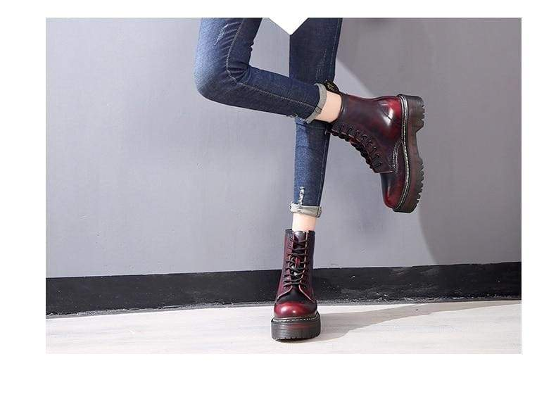 Lace-up Leather Boots For Women - shoes