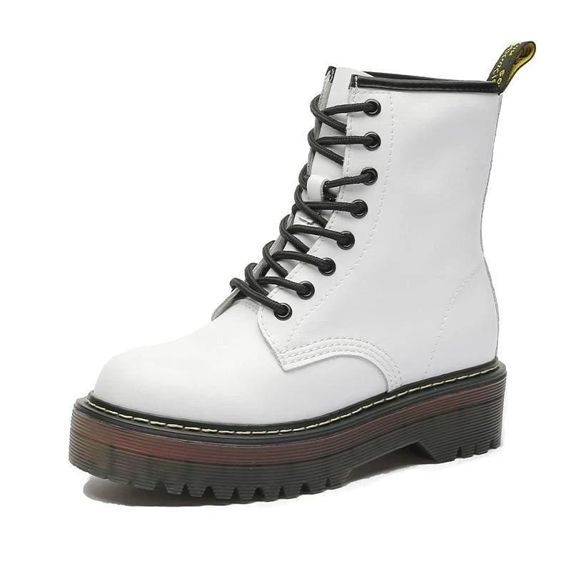 Lace-up Leather Boots For Women - White / 35 - shoes